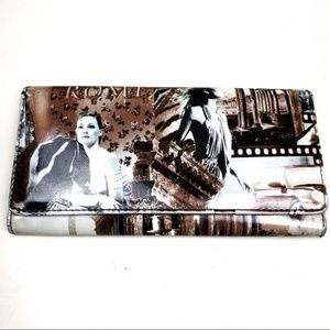 Brown Patent Leather Fashion Print Wallet